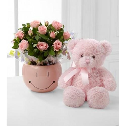 Pinkish Mini Roses with Teddy Bear