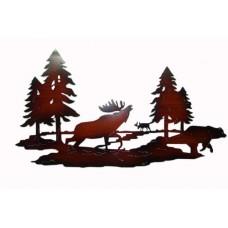 Metal wild moose wall decor