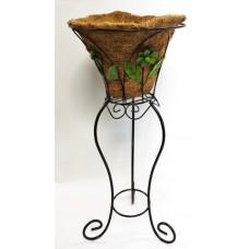 Round metal stand planter