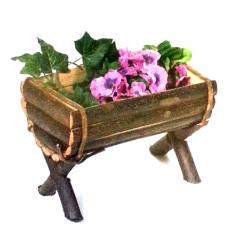 Half barrel wooden planter