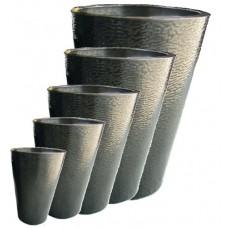 Round Dark Titanium Zinc planters