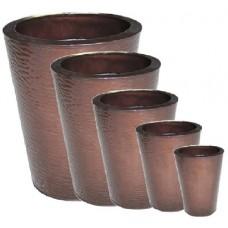Round Chocolate Zinc planters