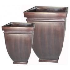 Square brown Zinc planters
